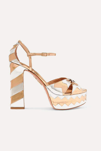 Aquazzura Eugenie Niarchos So Eugenie Embellished Metallic Leather Platform Sandals - Silver