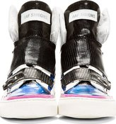 Raf Simons Blue & White Etched Leather Hi-Top Sneakers