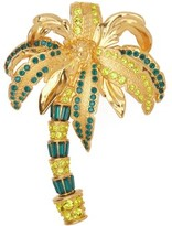 Versace Crystal-embellished Palm-tree Brooch - Womens - Gold