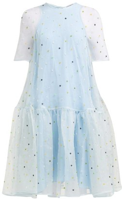 Cecilie Bahnsen - Annabella Floral-beaded Silk-organza Dress - Womens - Blue Multi