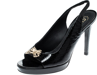 Chanel Black Patent Perforated Leather Bow Detail Slingback Sandals Size 38