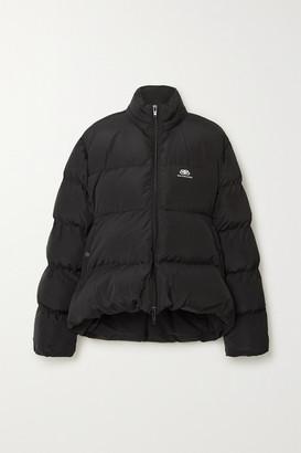 Balenciaga C-shape Oversized Hooded Quilted Shell Jacket - Black