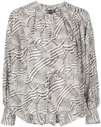 Isabel Marant abstract-print tie-neck blouse