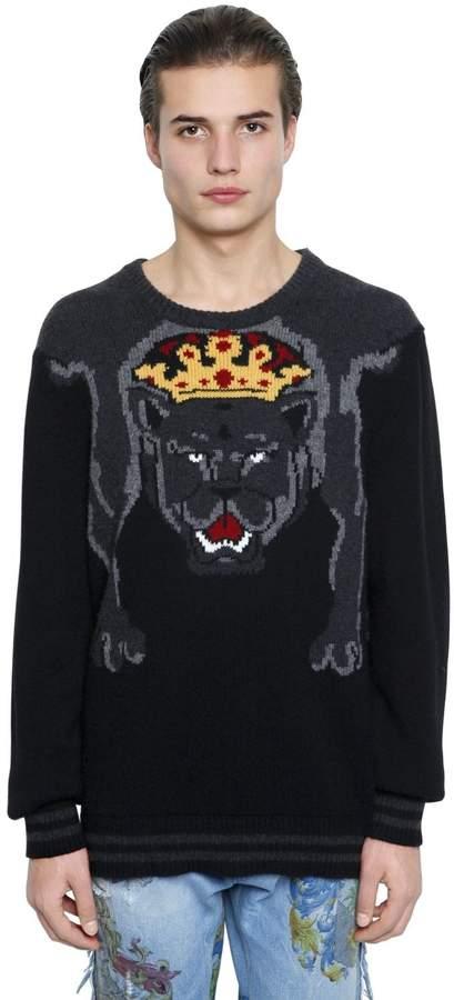 Dolce & Gabbana Pantera Intarsia Wool Knit Sweater