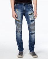 Reason Men's Slim-Fit Camo Patch Rip & Repair Moto Jeans