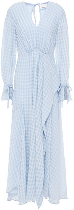 3.1 Phillip Lim Wrap-effect Checked Seersucker Maxi Dress