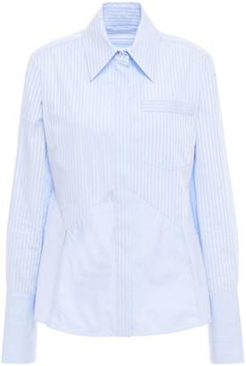 Victoria Victoria Beckham Lattice-trimmed Paneled Striped Cotton-poplin Shirt