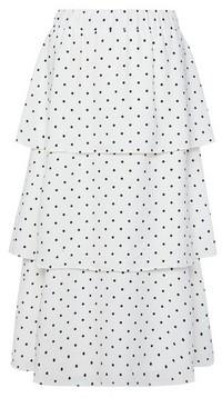 Dorothy Perkins Womens White Polka Dot Tiered Midi Skirt, White