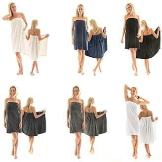 CelinaTex Women's Sauna Kilt/Towel with Velcro Fastener and Bag, Coral Fleece, Malaga, Lightweight, Soft, Fluffy, Comfortable, Polyester, Cream White, L/XL