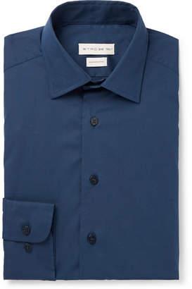 Navy Slim-Fit Cotton-Blend Poplin Shirt