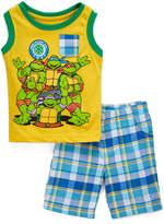 Children's Apparel Network TMNT Yellow Tank & Green Plaid Shorts - Toddler & Boys