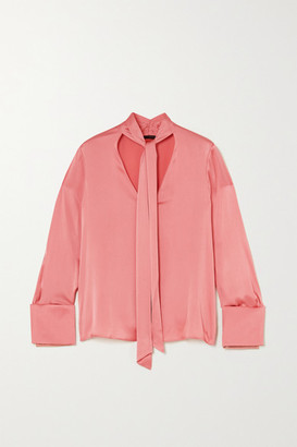 Alice + Olivia Rosina Pussy-bow Silk-blend Satin Blouse - Blush