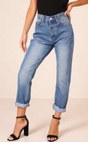 Showpo Halle Mum Jeans in Mid Wash Denim