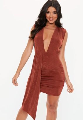 Missguided Rust Plunge Slinky Drape Bodycon Mini Dress