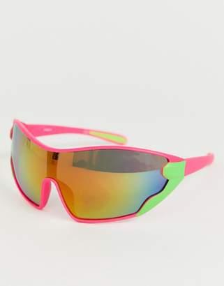 Asos Design DESIGN wrap oversized visor sunglasses in neon frame-Pink