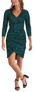 GUESS Ruched Animal-Print Bodycon Dress