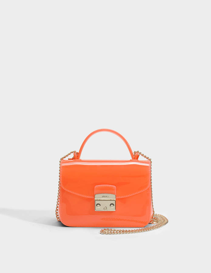Furla Candy Meringa Mini Crossbody Bag in Mango PVC