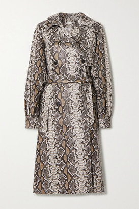 Utzon Snake-effect Leather Trench Coat - Gray