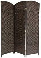 Oriental Furniture Beautiful Affordable Dark Color Room Divider, 6-Feet Tall Diamond Weave Natural Fiber Folding Screen, Mocha Brown, 4 Panel