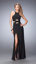 La Femme Long Jersey Prom Dress with Black Beading 22206