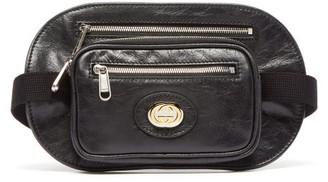 Gucci Morpheus Crackled-leather Belt Bag - Black
