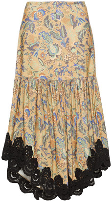 See by Chloe Guipure Lace-trimmed Floral-print Cotton-corduroy Midi Skirt