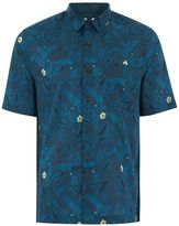 Topman Blue Short Sleeve Floral Shirt