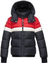 Moncler Aymond Hooded Colorblock Puffer Jacket, Navy, Size 4-6