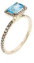 Meira T 14K Yellow Gold, Blue Topaz & 0.34 Total Ct. Diamond Ring