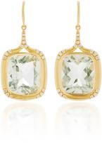 Jamie Wolf 18K Gold Green Amethyst and White Diamond Earrings