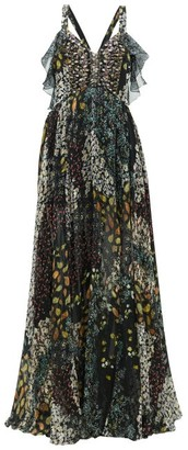 Etro Uschi Floral-print Silk Maxi Dress - Womens - Black Multi