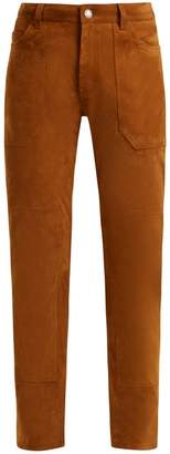 Saint Laurent High-rise Slim-leg Suede Trousers - Womens - Brown