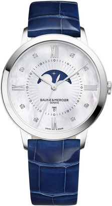 Baume & Mercier Classima Moonphase Diamond, Mother-Of-Pearl, Stainless Steel & Patent Alligator Strap Watch