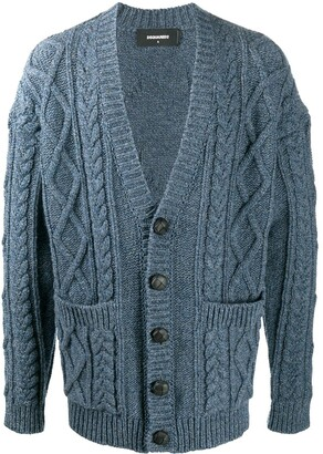 DSQUARED2 Chunky Cable Knit Double Pocket Cardigan