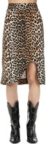 Thumbnail for your product : Ganni Leopard Printed Silk Blend Midi Skirt