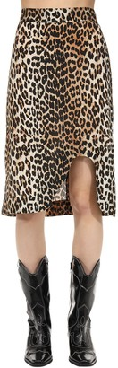 Ganni Leopard Printed Silk Blend Midi Skirt