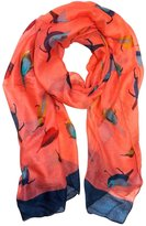 Peach Couture Lightweight Pretty Finch Bird All-Over Print Vintage Multicolor Scarf