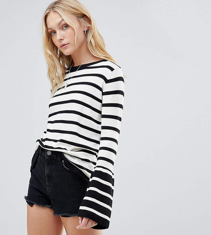 Brave Soul Tall Sea Stripe Sweater Wiith Contrast Flare Sleeves