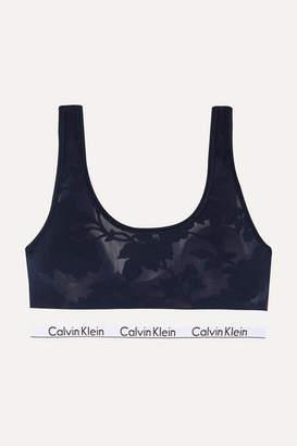 Calvin Klein Underwear Modern Burnout Modal-blend Jersey Soft-cup Bra - Midnight blue