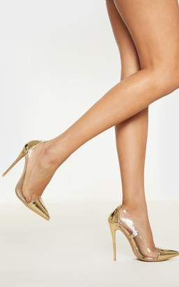 PrettyLittleThing Gold Patent Clear Court Shoes