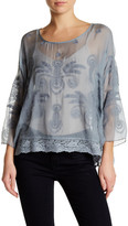 Johnny Was Silk Blouse with Lace Hi-Lo Hem