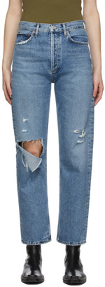 AGOLDE Blue Fitted 90s High-Rise Straight Jeans