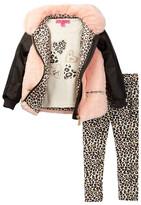 Betsey Johnson Sparkle Faux Fur & Pleather Jacket, Tee, & Legging Set (Toddler Girls)
