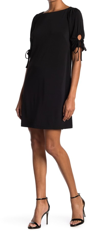 Gabby Skye Solid Tie Sleeve Shift Dress