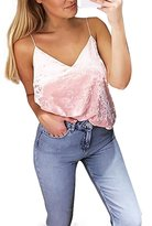 eronde Sexy Women Girl Velvet Crop Tops Tank Deep V-Neck Sleeveless Casual Camisole
