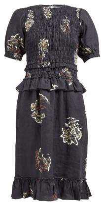 Aster Sir Tee Rococo Print Linen Dress - Womens - Black Multi