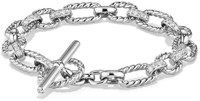 David Yurman Cushion Chain Link Bracelet with Diamonds