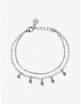 The White Company Beaded double-chain silver-plated bracelet