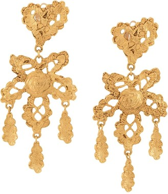 Christian Lacroix Pre Owned Heart lace long earrings