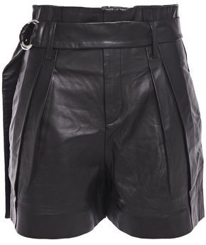 IRO Belted Pleated Leather Shorts